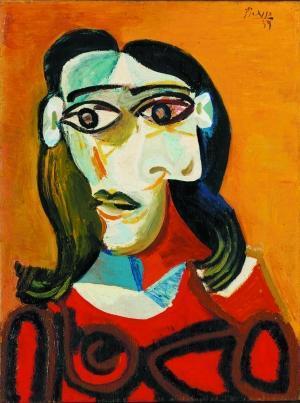 毕加索为情人画的《年轻的黑发女人(朵拉·玛尔)》.
